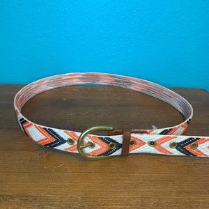 J.crew south western print embroidered belt